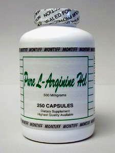 Pure L-Arginine HCl 500 mg 250 caps by Montiff
