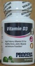 Vitamin D3 (as Cholescalciferol) 1000IU 90c by Progena